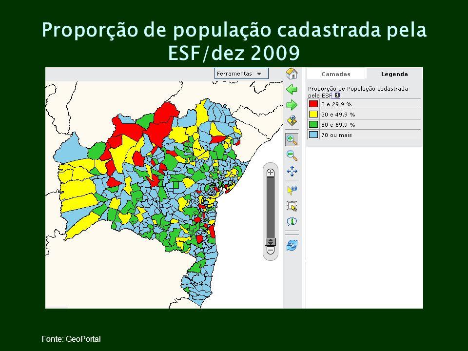 Proporção de população cadastrada pela ESF/dez 2009