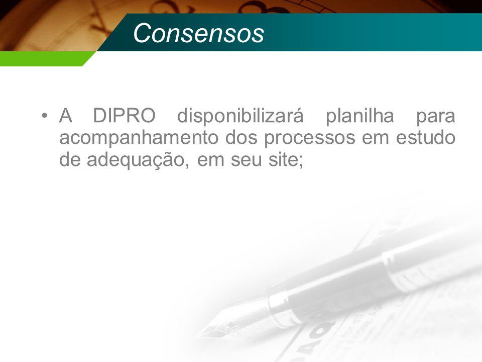 ConsensosA DIPRO disponibilizará planilha para acompanhamento dos processos em estudo de adequação, em seu site;