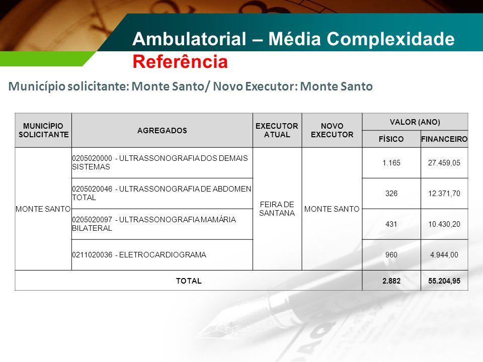 Ambulatorial – Média Complexidade Referência