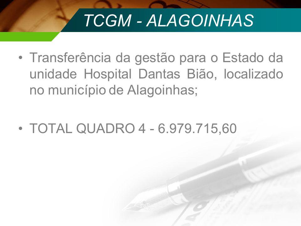 TCGM - ALAGOINHASTransferência da gestão para o Estado da unidade Hospital Dantas Bião, localizado no município de Alagoinhas;