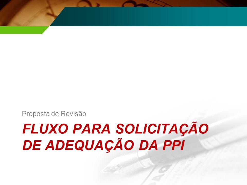 FLUXO PARA SOLICITAÇÃO DE ADEQUAÇÃO DA PPI