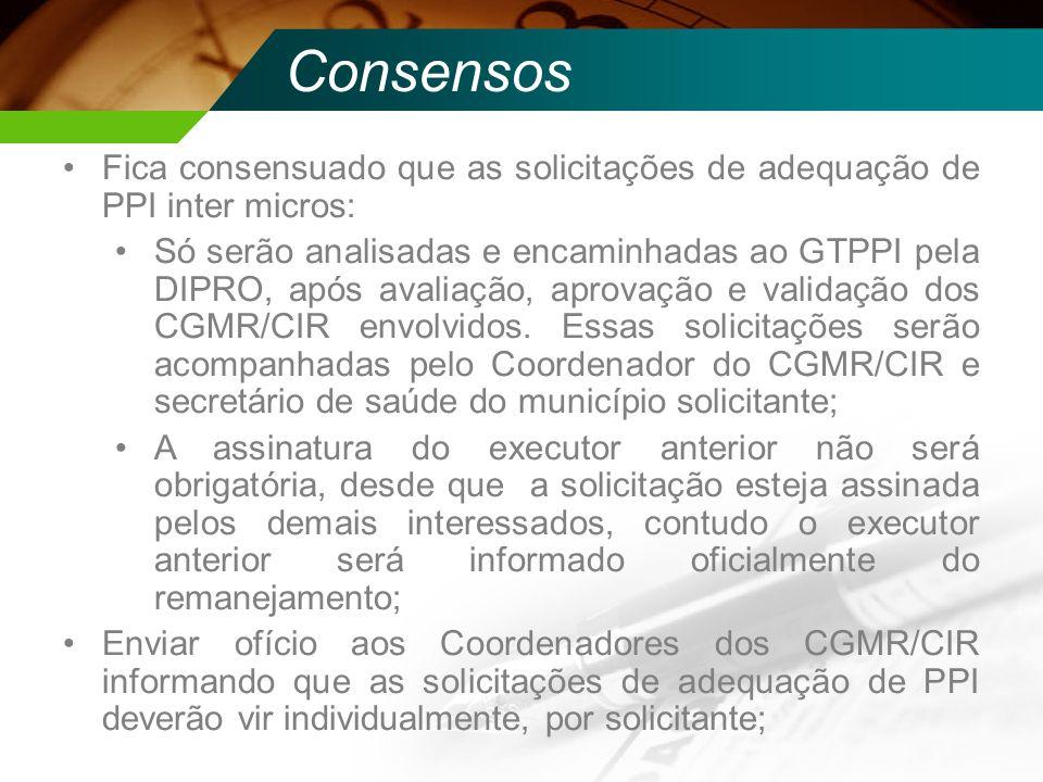 Consensos Fica consensuado que as solicitações de adequação de PPI inter micros: