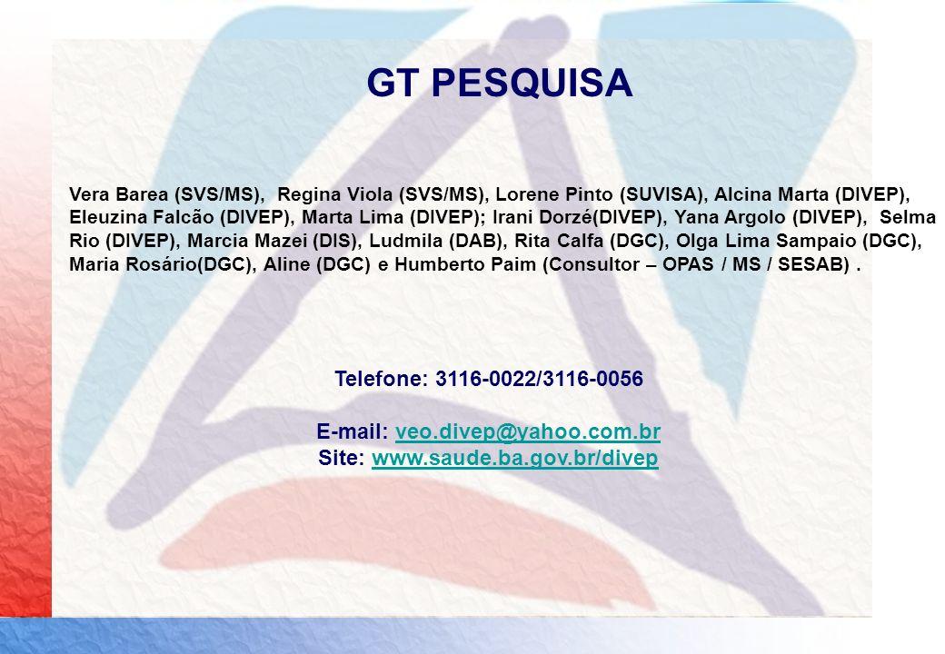 E-mail: veo.divep@yahoo.com.br Site: www.saude.ba.gov.br/divep