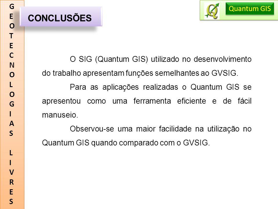 CONCLUSÕES G E O T C N L I A S V R Quantum GIS