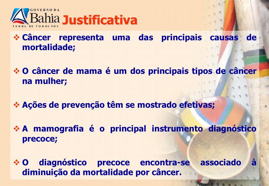 Justificativa Câncer representa uma das principais causas de mortalidade; O câncer de mama é um dos principais tipos de câncer na mulher;