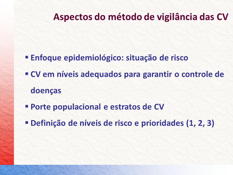 Aspectos do método de vigilância das CV