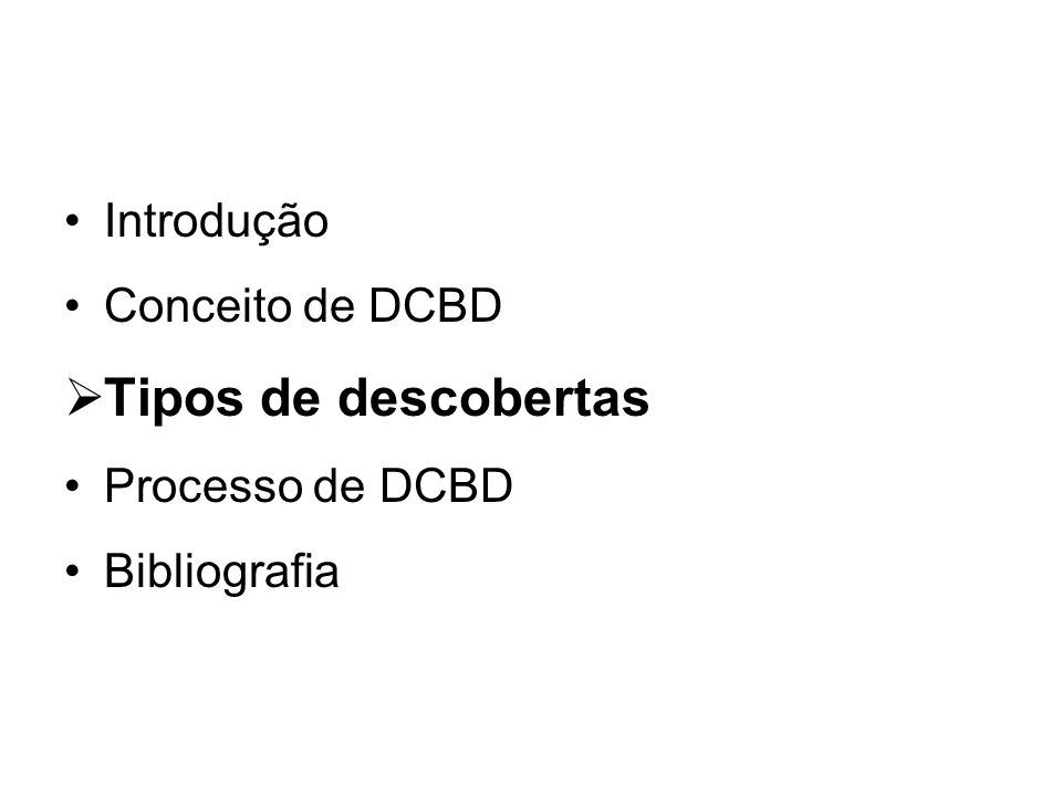 Tipos de descobertas Introdução Conceito de DCBD Processo de DCBD