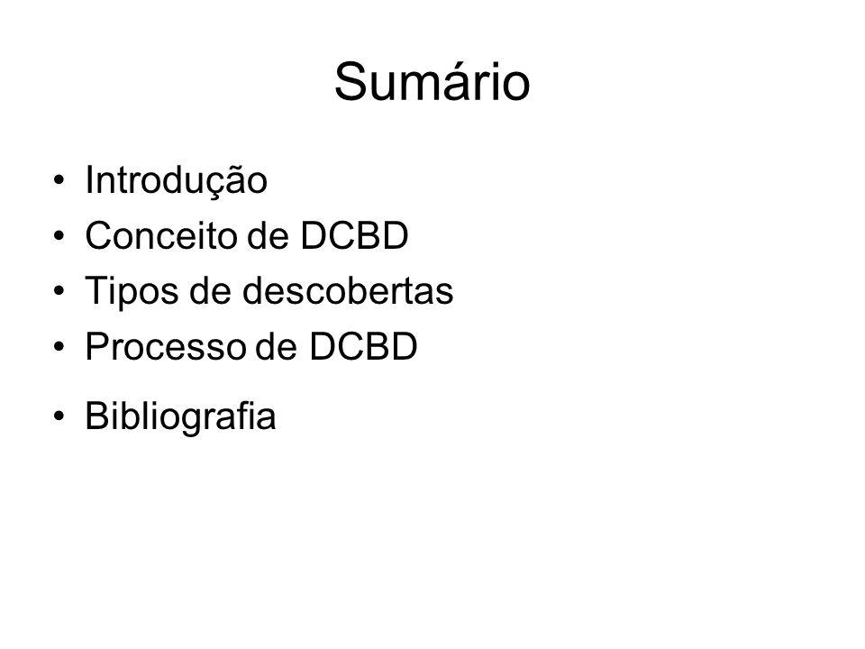 Sumário Introdução Conceito de DCBD Tipos de descobertas