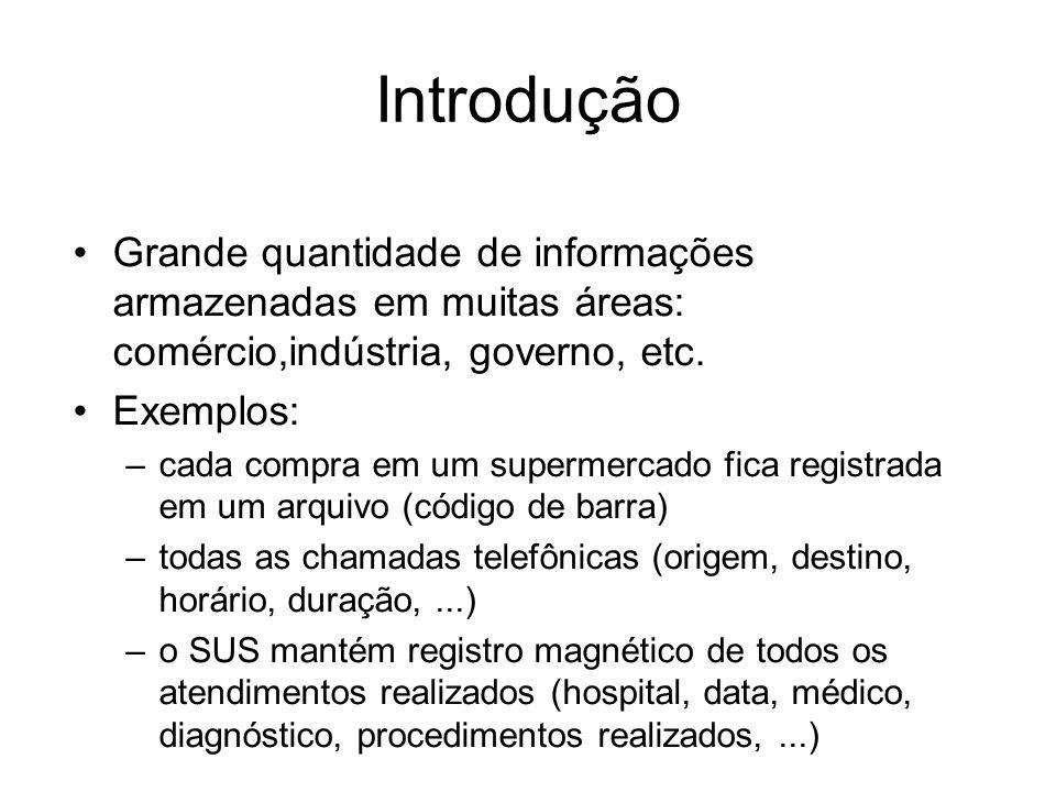 Introdução Grande quantidade de informações armazenadas em muitas áreas: comércio,indústria, governo, etc.