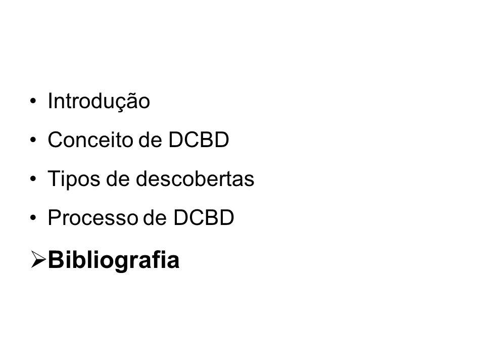 Bibliografia Introdução Conceito de DCBD Tipos de descobertas