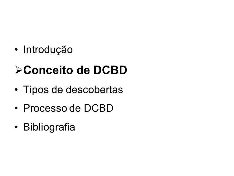 Conceito de DCBD Introdução Tipos de descobertas Processo de DCBD