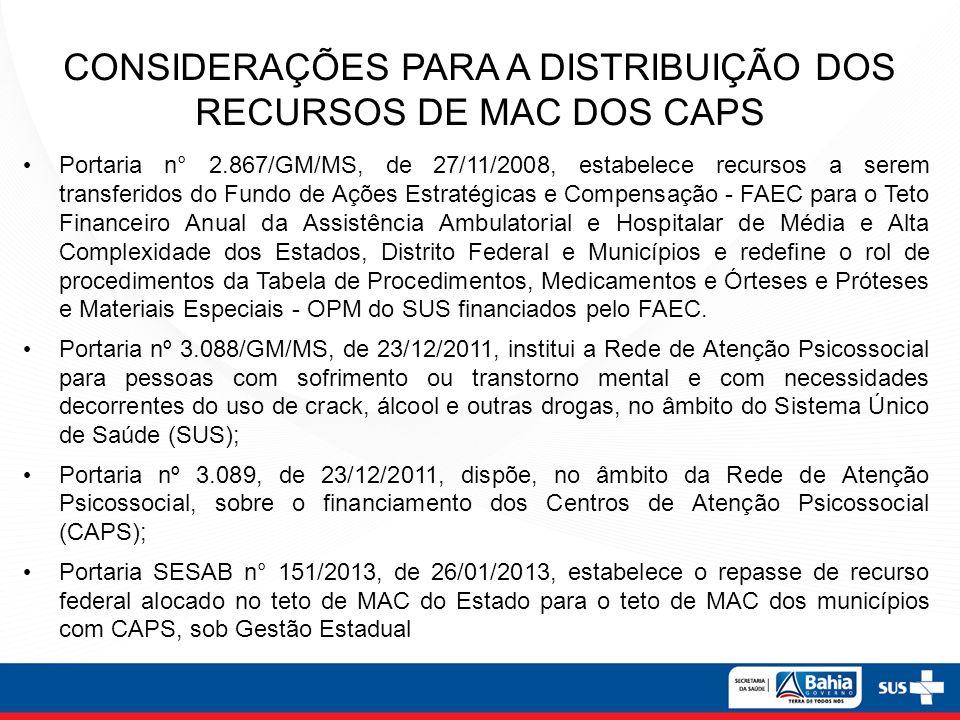 CONSIDERAÇÕES PARA A DISTRIBUIÇÃO DOS RECURSOS DE MAC DOS CAPS