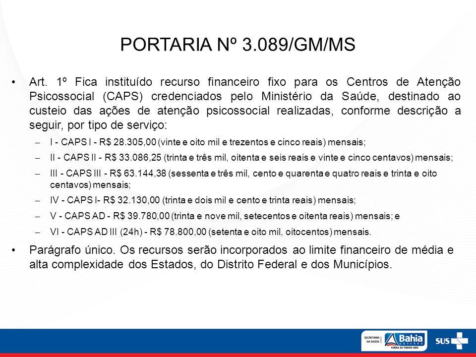 PORTARIA Nº 3.089/GM/MS