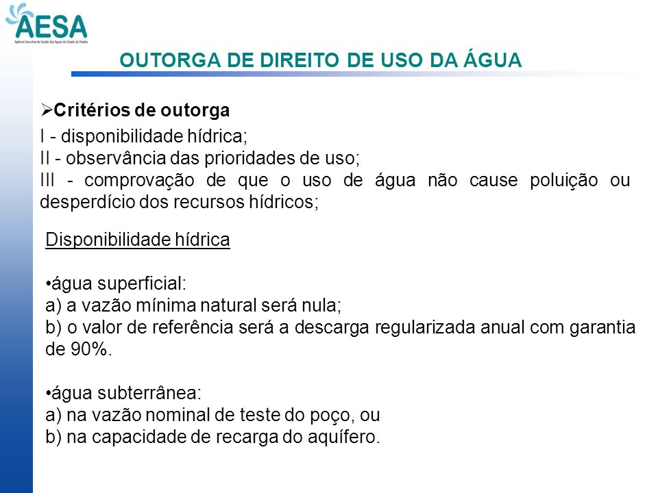 OUTORGA DE DIREITO DE USO DA ÁGUA
