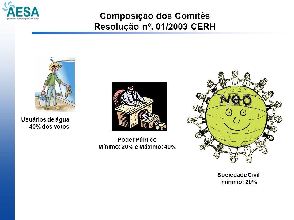 Composição dos Comitês Resolução nº. 01/2003 CERH