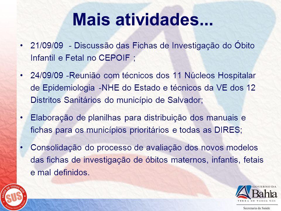 Mais atividades... 21/09/09 - Discussão das Fichas de Investigação do Óbito Infantil e Fetal no CEPOIF ;