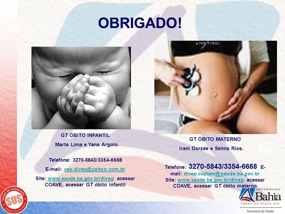 OBRIGADO! GT ÓBITO INFANTIL Marta Lima e Yana Argolo. GT ÓBITO MATERNO