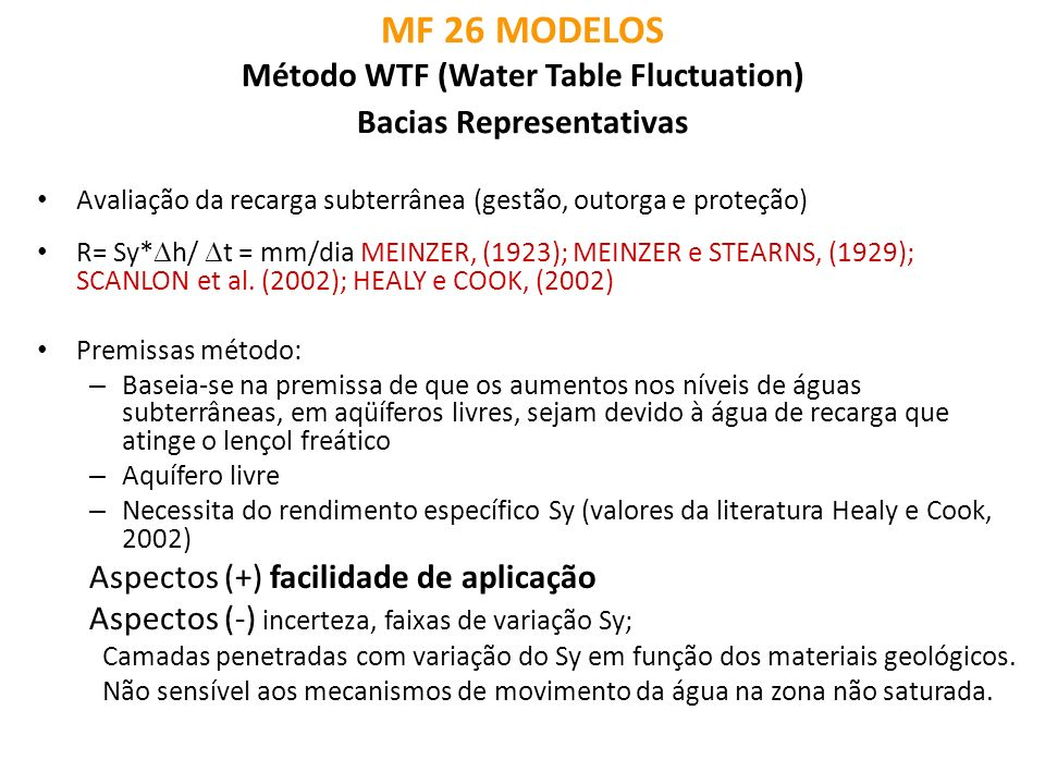 MF 26 MODELOS Método WTF (Water Table Fluctuation) Bacias Representativas