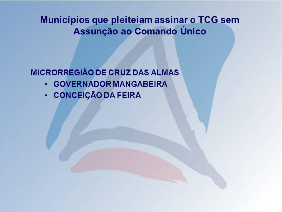 Municípios que pleiteiam assinar o TCG sem Assunção ao Comando Único