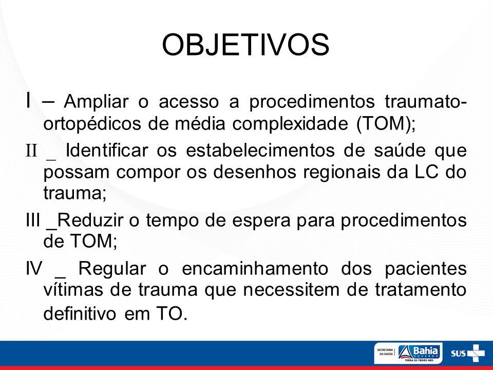 OBJETIVOS I – Ampliar o acesso a procedimentos traumato- ortopédicos de média complexidade (TOM);