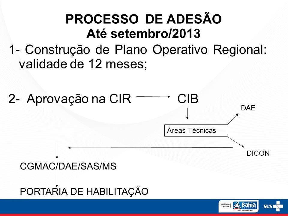 PROCESSO DE ADESÃO Até setembro/2013