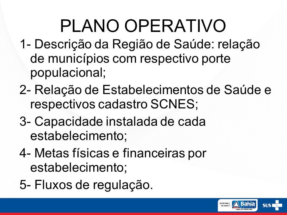 PLANO OPERATIVO 1- Descrição da Região de Saúde: relação de municípios com respectivo porte populacional;