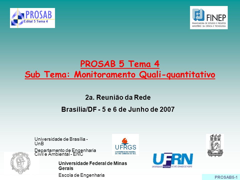 PROSAB 5 Tema 4 Sub Tema: Monitoramento Quali-quantitativo
