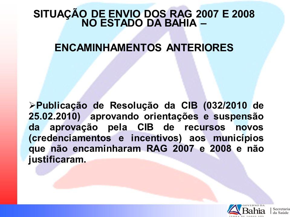 SITUAÇÃO DE ENVIO DOS RAG 2007 E 2008 NO ESTADO DA BAHIA –
