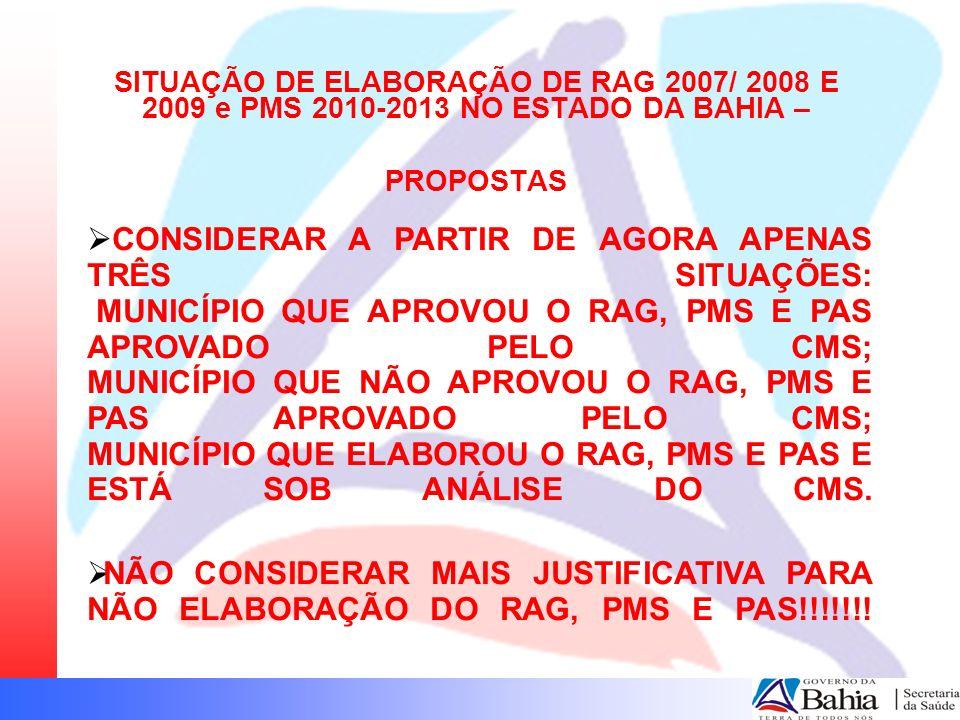 SITUAÇÃO DE ELABORAÇÃO DE RAG 2007/ 2008 E 2009 e PMS 2010-2013 NO ESTADO DA BAHIA –