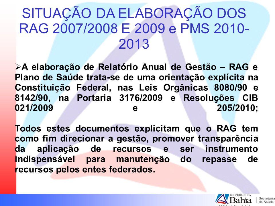 SITUAÇÃO DA ELABORAÇÃO DOS RAG 2007/2008 E 2009 e PMS 2010- 2013