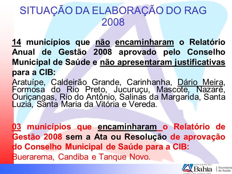 SITUAÇÃO DA ELABORAÇÃO DO RAG 2008