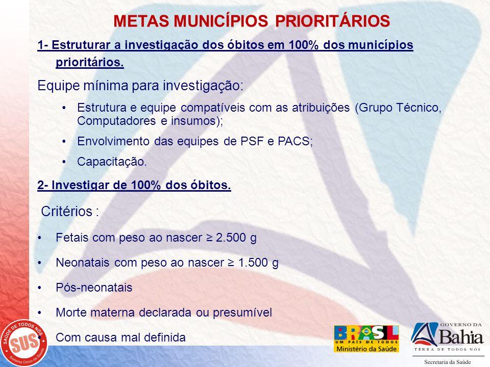 METAS MUNICÍPIOS PRIORITÁRIOS