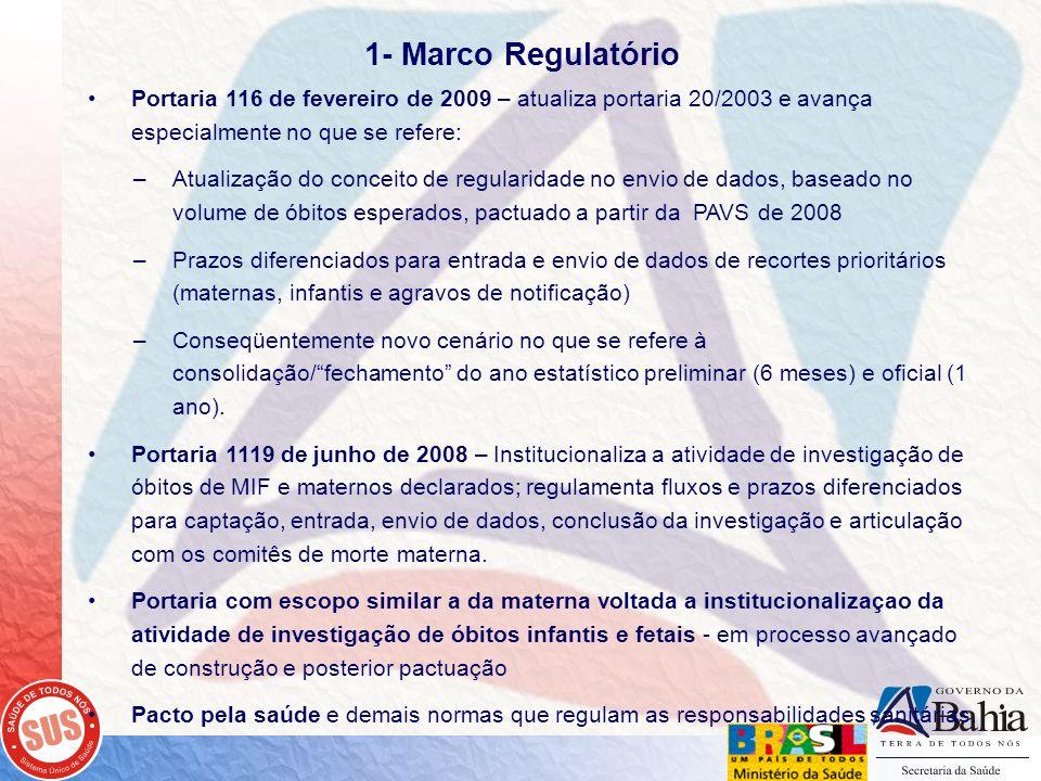 1- Marco Regulatório Portaria 116 de fevereiro de 2009 – atualiza portaria 20/2003 e avança especialmente no que se refere: