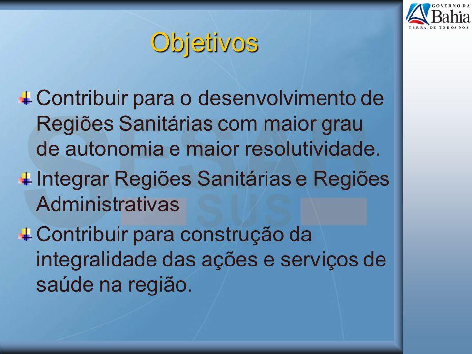 Objetivos Contribuir para o desenvolvimento de Regiões Sanitárias com maior grau de autonomia e maior resolutividade.