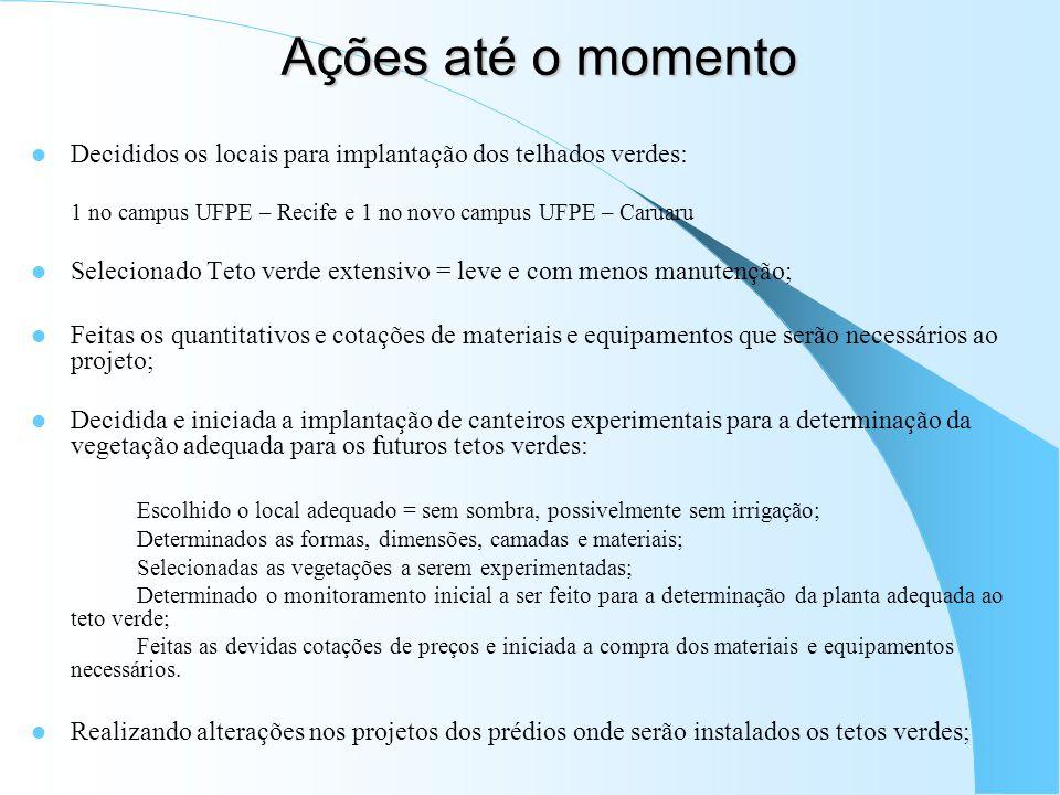 Ações até o momentoDecididos os locais para implantação dos telhados verdes: 1 no campus UFPE – Recife e 1 no novo campus UFPE – Caruaru.
