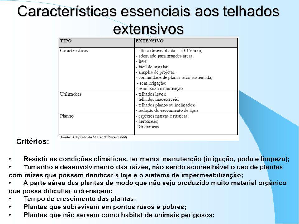 Características essenciais aos telhados extensivos