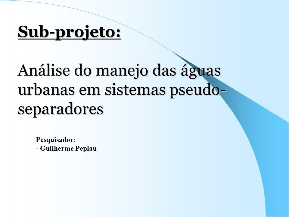 Sub-projeto: Análise do manejo das águas urbanas em sistemas pseudo-separadores