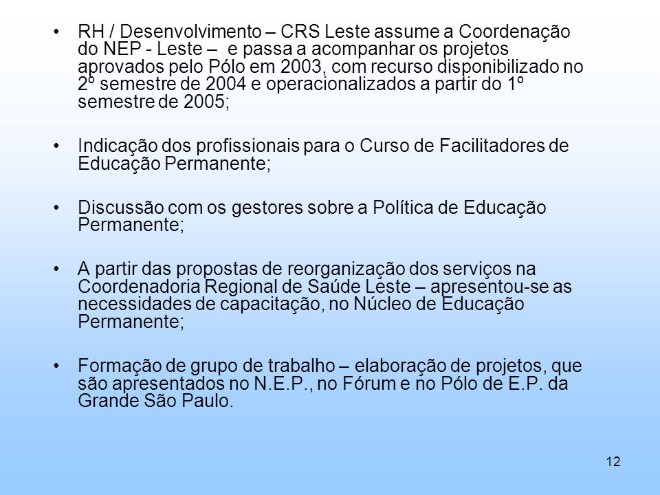 RH / Desenvolvimento – CRS Leste assume a Coordenação do NEP - Leste – e passa a acompanhar os projetos aprovados pelo Pólo em 2003, com recurso disponibilizado no 2º semestre de 2004 e operacionalizados a partir do 1º semestre de 2005;