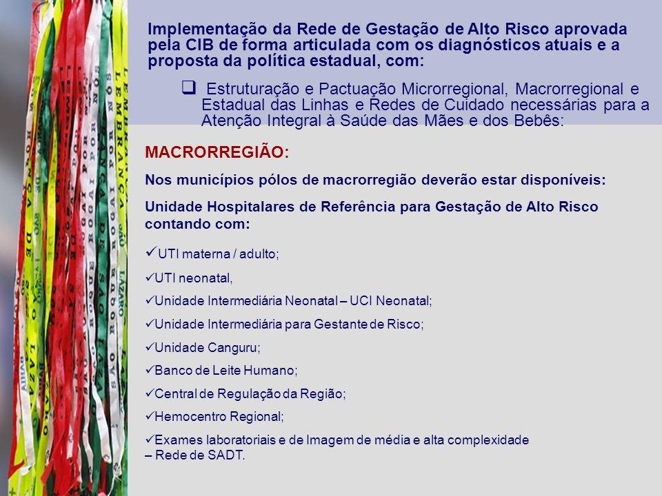 Implementação da Rede de Gestação de Alto Risco aprovada pela CIB de forma articulada com os diagnósticos atuais e a proposta da política estadual, com: