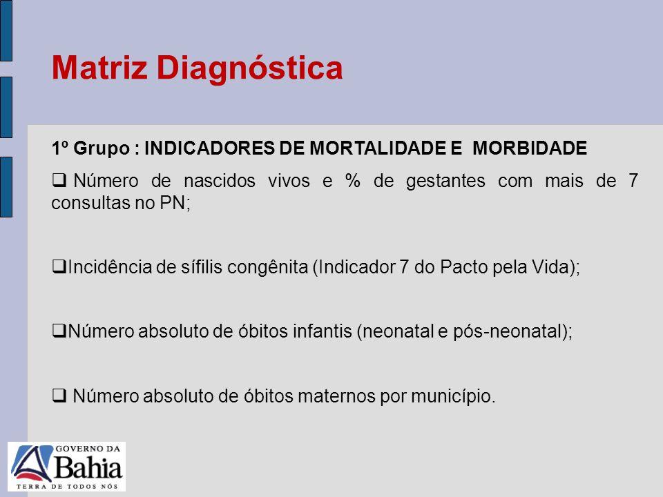 Matriz Diagnóstica 1º Grupo : INDICADORES DE MORTALIDADE E MORBIDADE