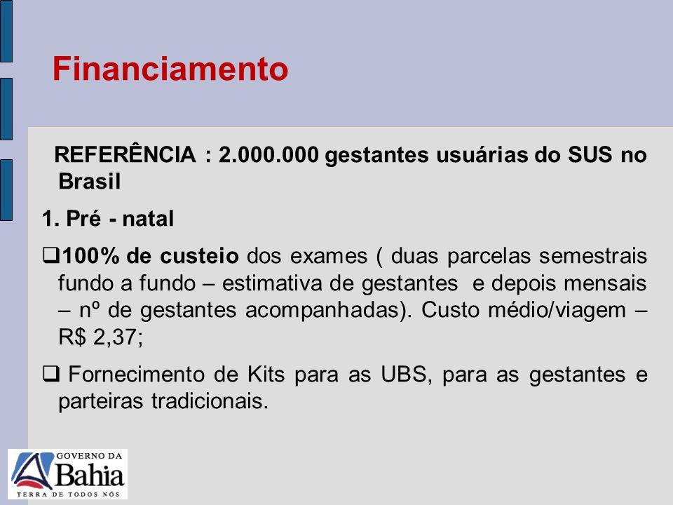 Financiamento REFERÊNCIA : 2.000.000 gestantes usuárias do SUS no Brasil. 1. Pré - natal.