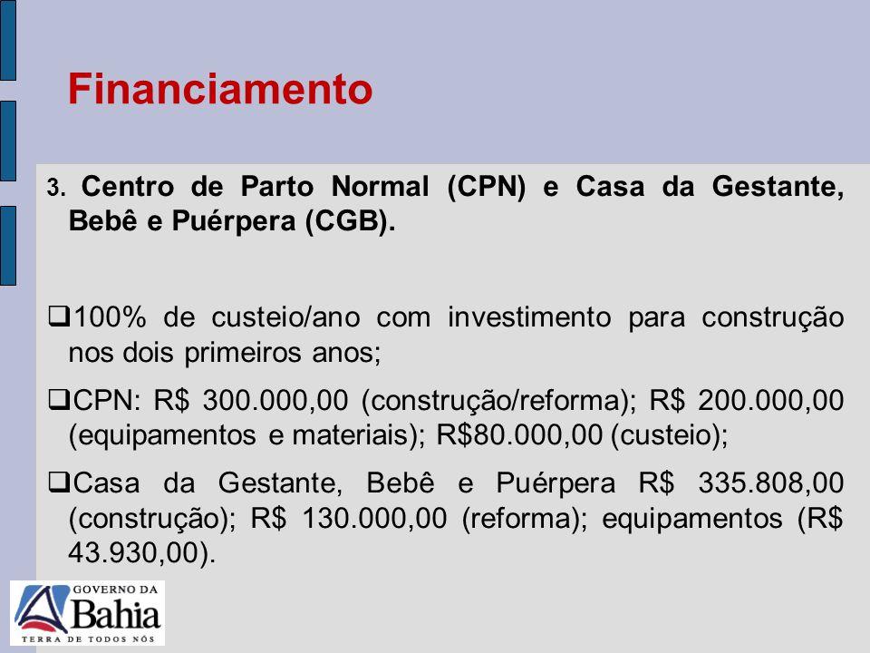 Financiamento 3. Centro de Parto Normal (CPN) e Casa da Gestante, Bebê e Puérpera (CGB).