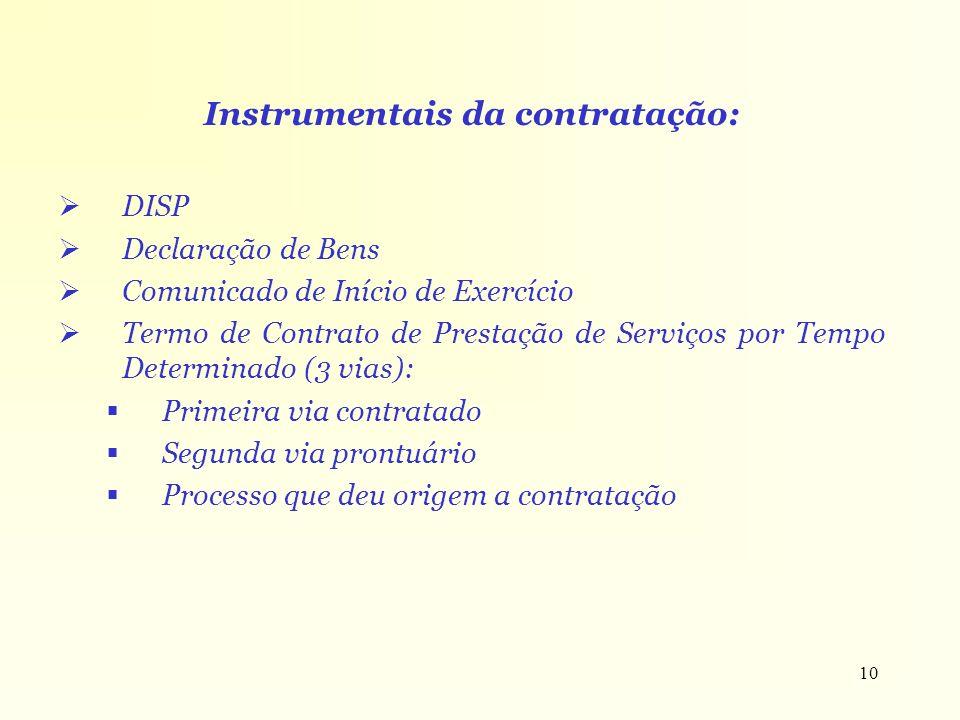 Instrumentais da contratação: