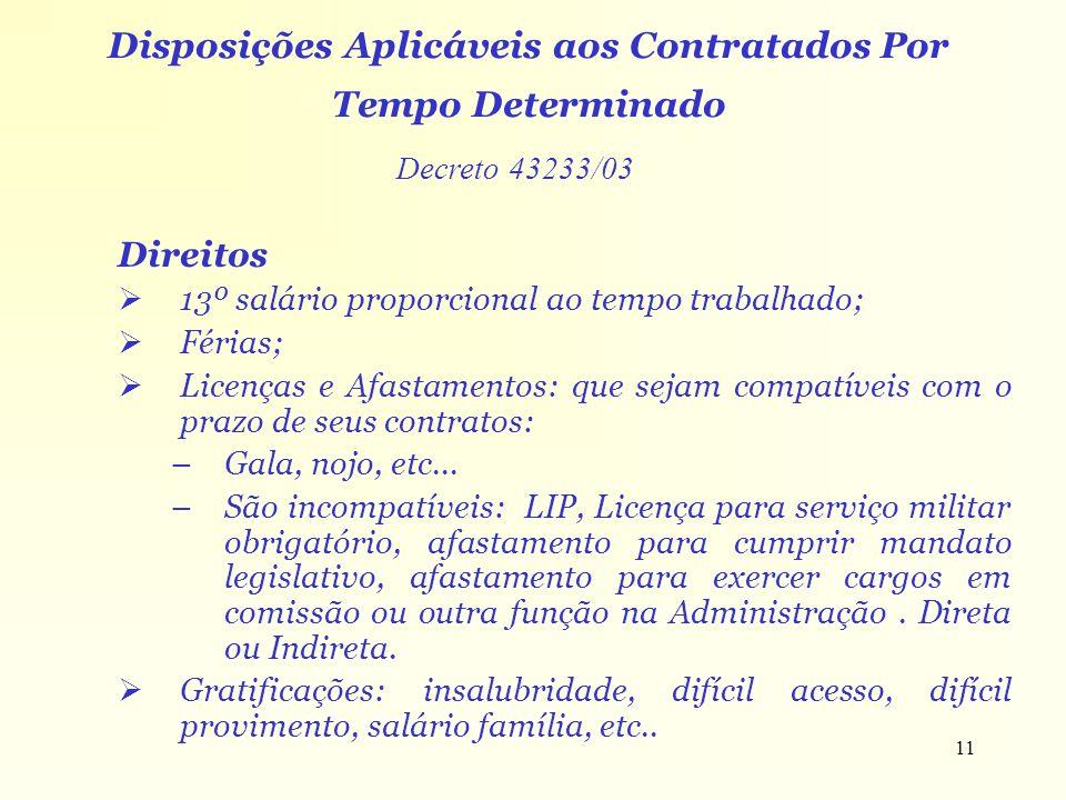 Disposições Aplicáveis aos Contratados Por Tempo Determinado