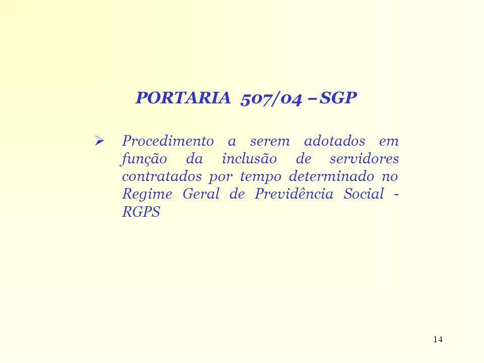 PORTARIA 507/04 – SGP