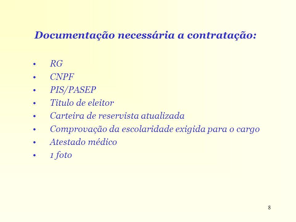 Documentação necessária a contratação: