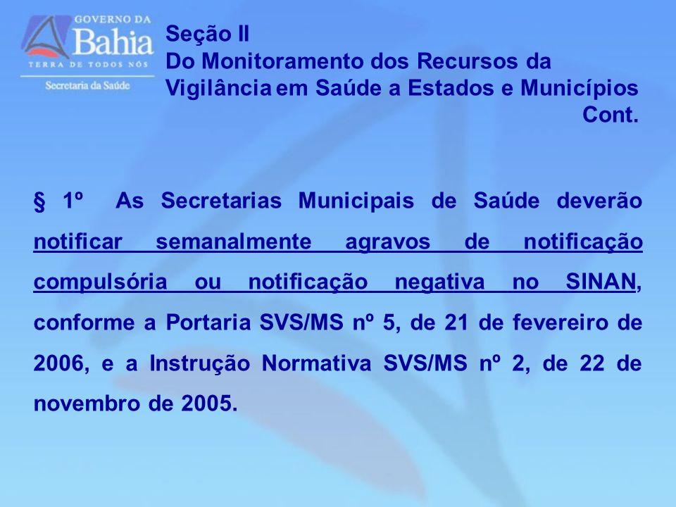 Seção IIDo Monitoramento dos Recursos da Vigilância em Saúde a Estados e Municípios. Cont.