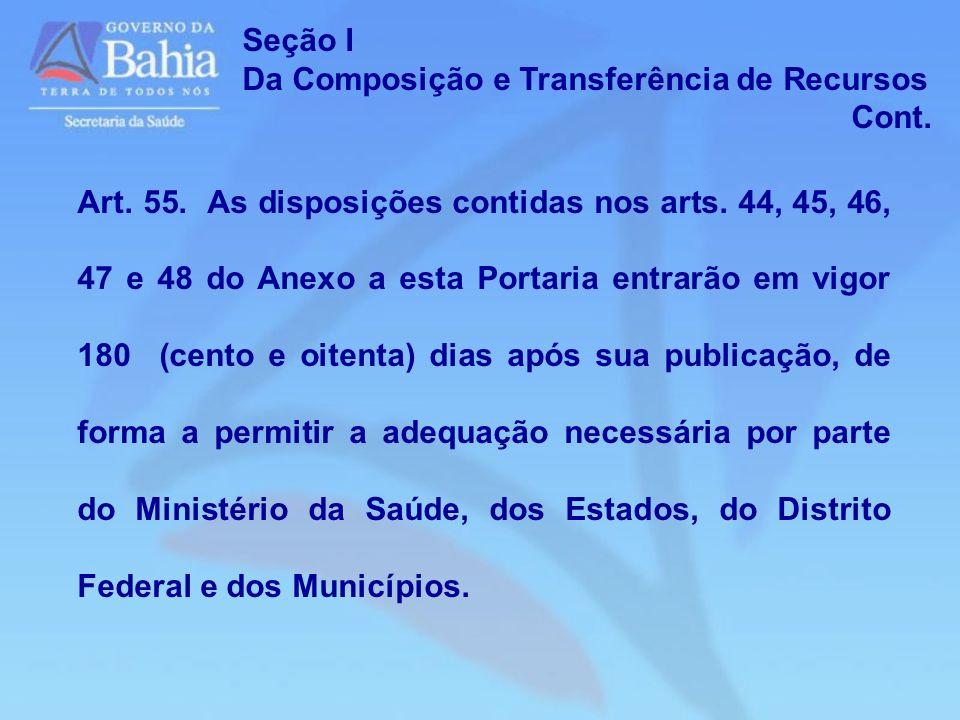 Seção I Da Composição e Transferência de Recursos. Cont.