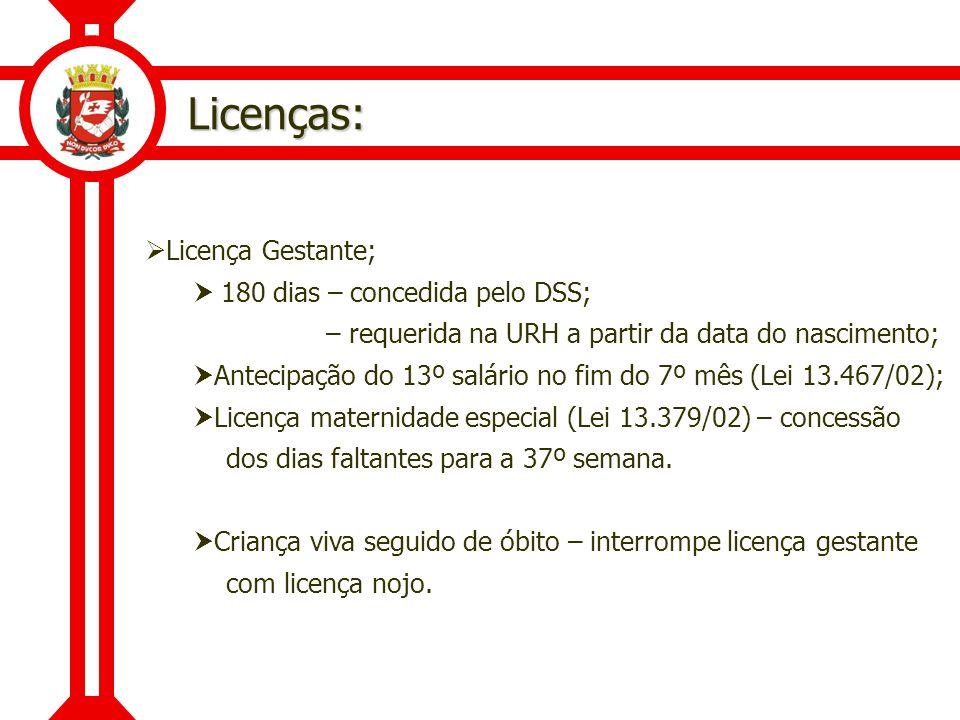 Licenças: Licença Gestante;  180 dias – concedida pelo DSS;