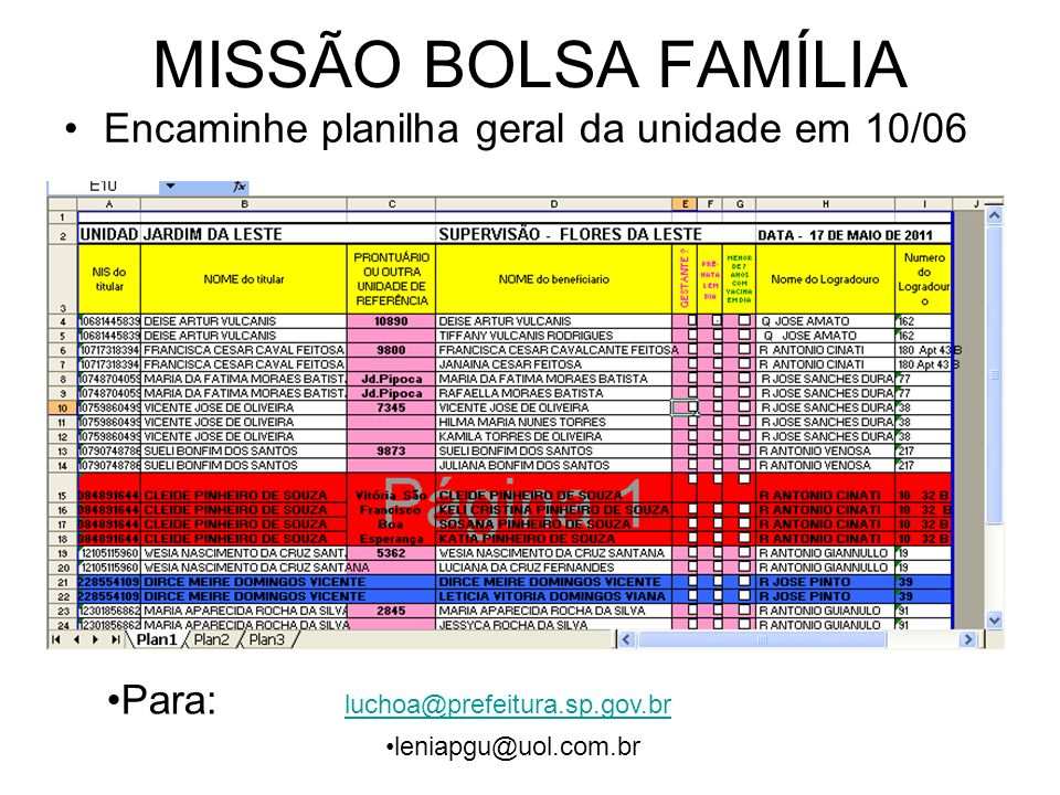 MISSÃO BOLSA FAMÍLIA Encaminhe planilha geral da unidade em 10/06